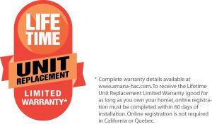 Amana Lifetime Unit Replacement